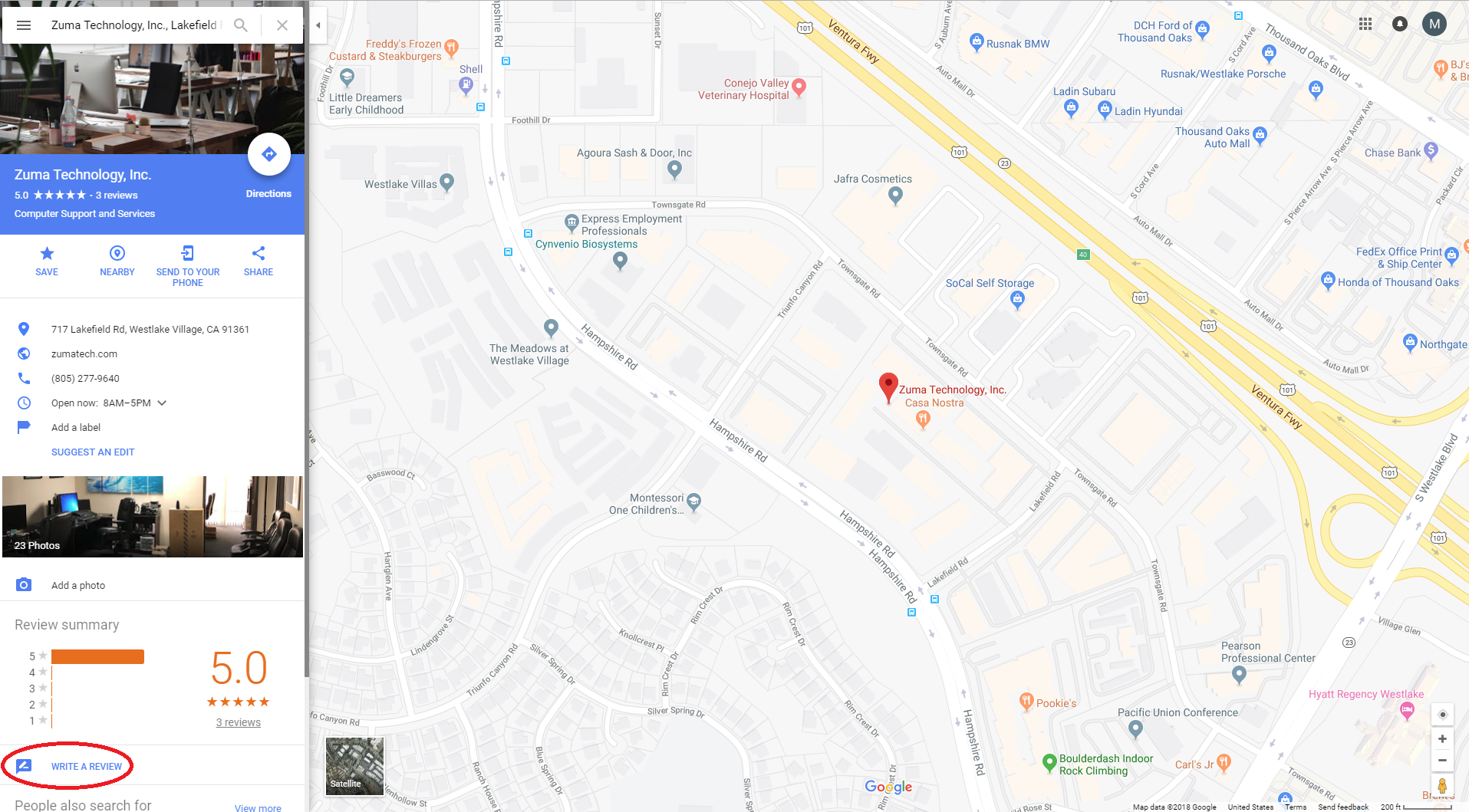 An image of the Google Maps page after searching for a business