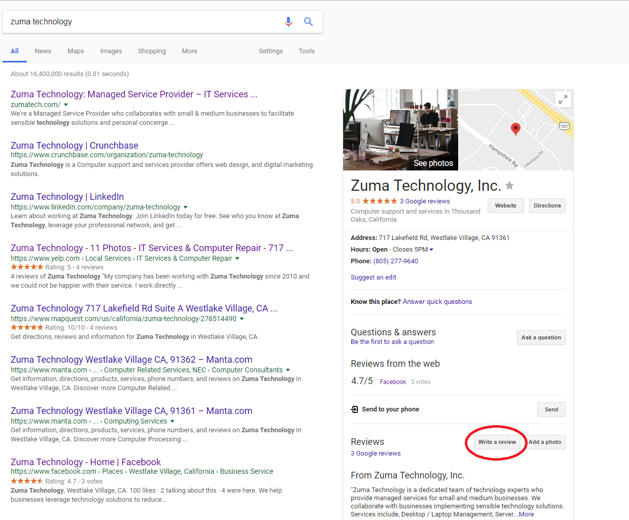 An image of Google's search page after searching for a business
