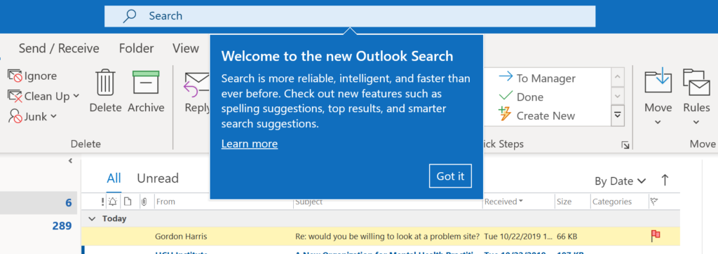 Outlook Search Moved To Top of Application