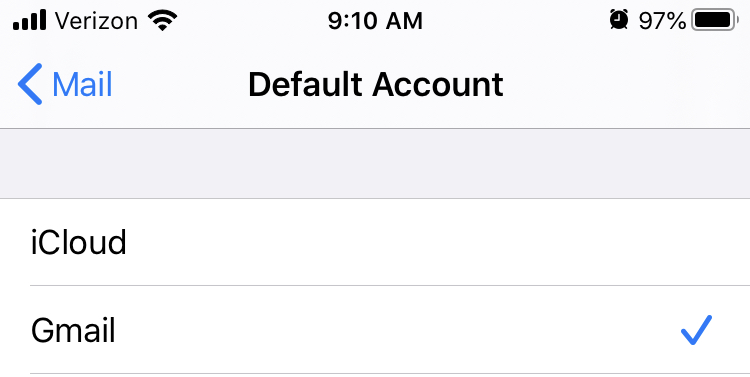 iOS Settings Default Account Option