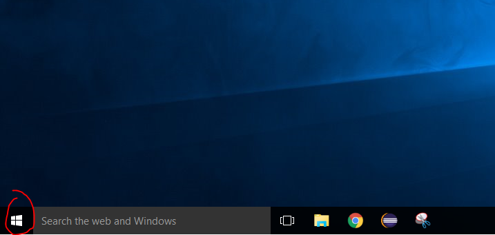 A photo depicting the Windows 10 start button
