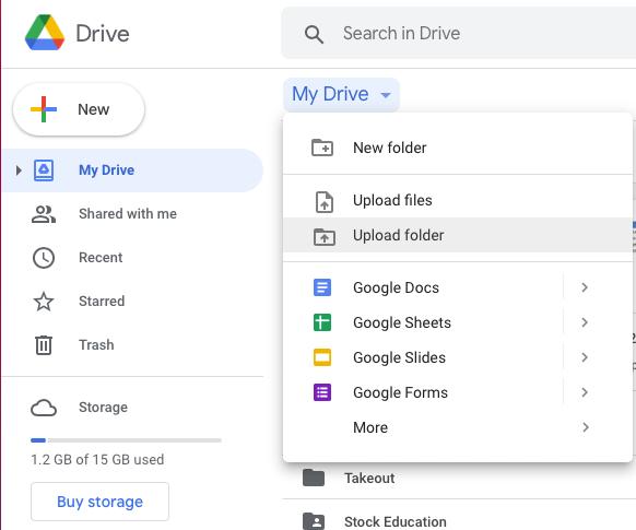 Google My Drive Screenshot of uploading a folder