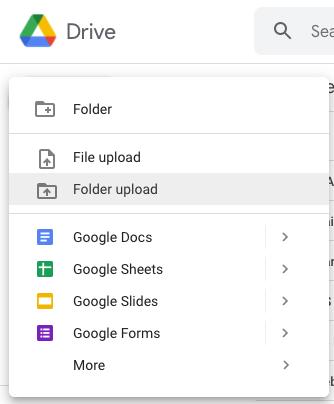 Screen Shot of Google Drive folder upload procedure