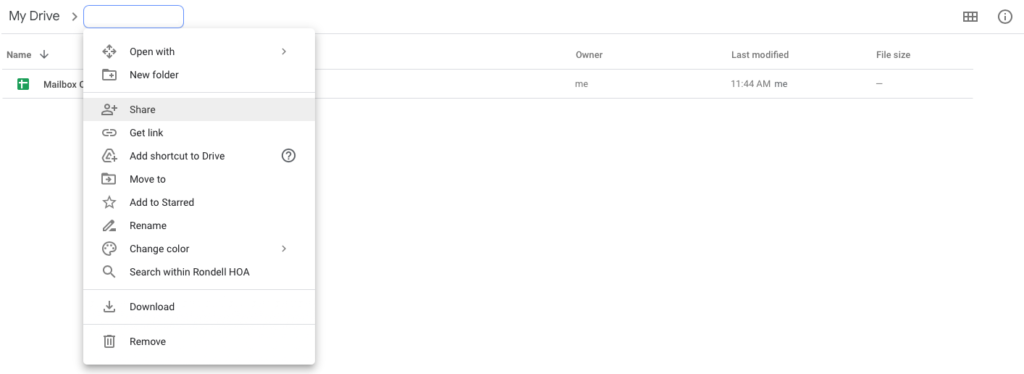 Screen Shot of sharing a folder in Google Drive
